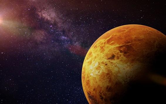 Wallpaper Orange planet, cosmos, stars, sun