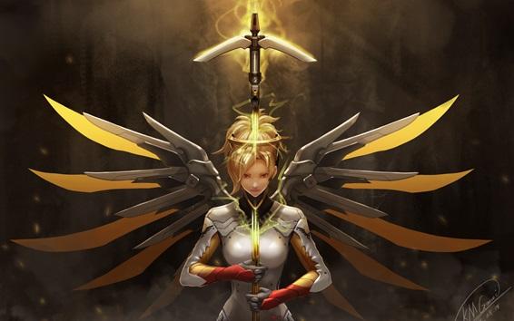 Wallpaper Overwatch, Mercy, girl, wings, sword