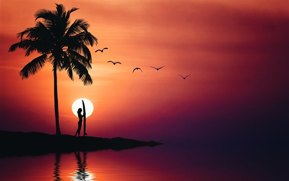 Papéis de Parede Palmeiras, garota, mar, silhueta, verão, pôr do sol