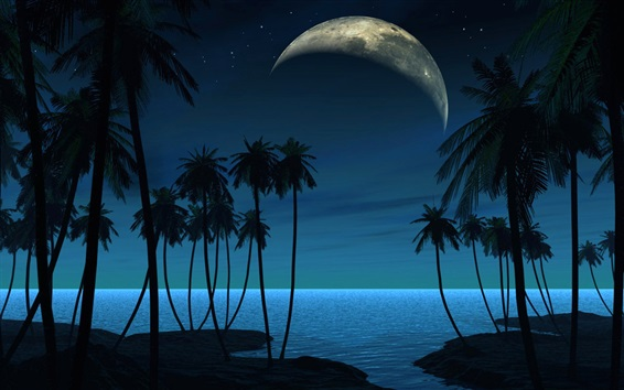 Wallpaper Palm trees, planet, night, creative picture