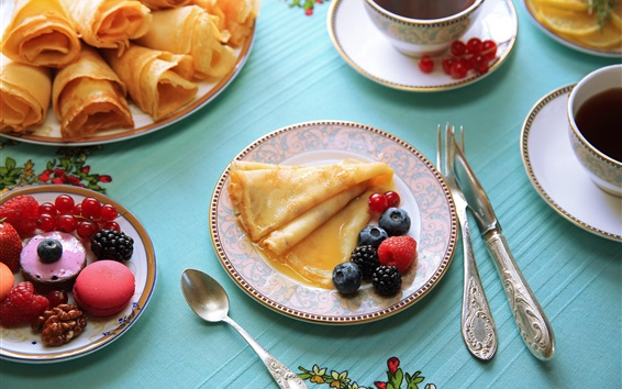 Wallpaper Pancakes, blackberry, currants, tea, breakfast