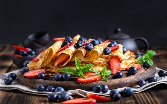 Wallpaper Pancakes, blueberry, strawberry, food