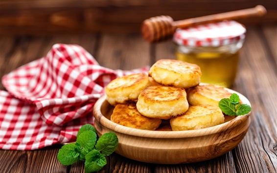 Wallpaper Pancakes, breakfast, mint, wood table