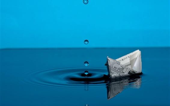 壁紙 紙ボート、青い水、滴