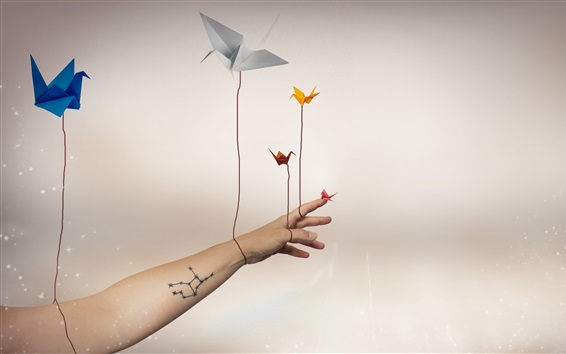 Wallpaper Paper cranes, flying, hand, creative picture