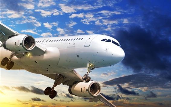 Wallpaper Passenger plane flight, sky, clouds, sunset