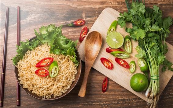 Wallpaper Pasta, noodle, pepper, lime, breakfast