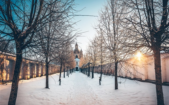 Wallpaper Pazaislis Monastery, Kaunas, Lithuania, trees, snow, winter, sun rays
