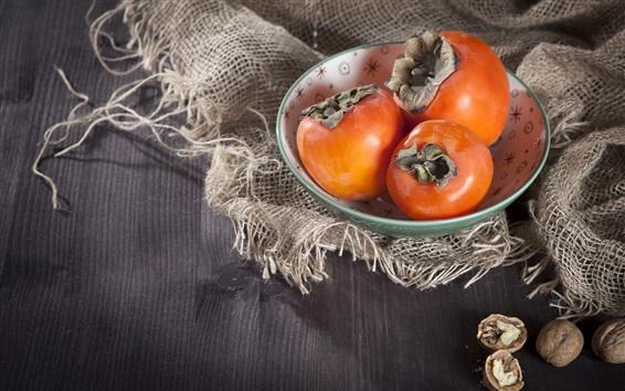 Wallpaper Persimmon, fruit, bag, nuts