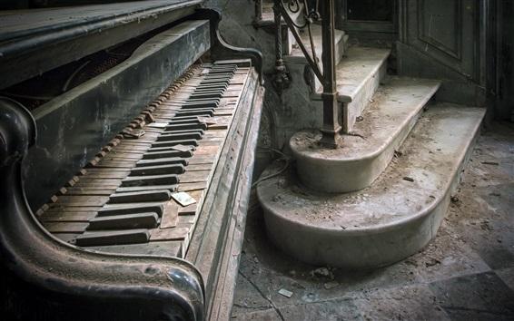 Обои Фортепиано, пыль, руины