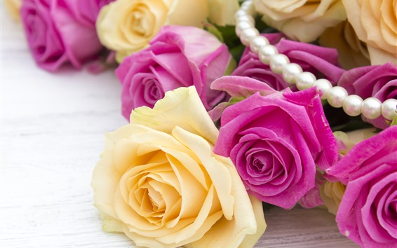 Wallpaper Pink and yellow roses, jewel