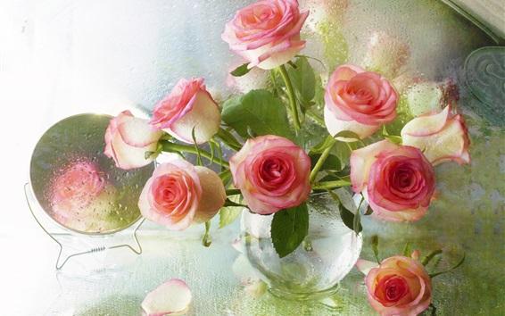 Papéis de Parede Rosas cor de rosa, vaso, vidro, gotas de água