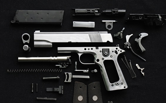 Wallpaper Pistol disassembled metal parts, weapon