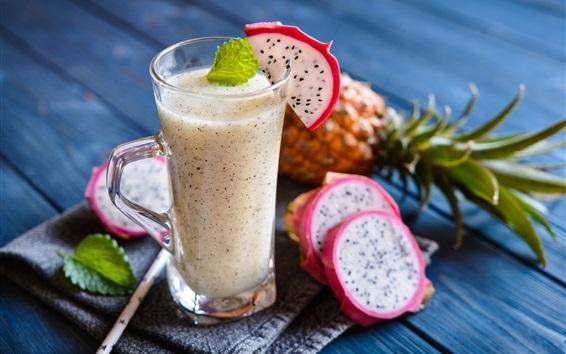 Papéis de Parede Pitaya, smoothies, sucos de frutas