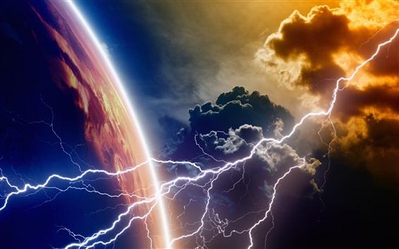 Fond d'écran Planète, nuages, éclair
