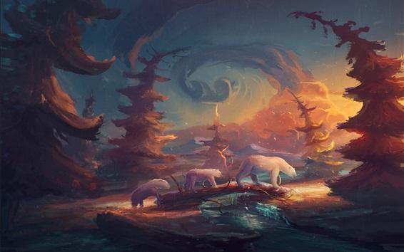 Papéis de Parede Ursos polares, árvores, pintura de arte