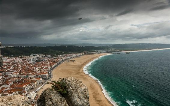 壁紙 ポルトガル、遊歩道、海、都市、ビーチ