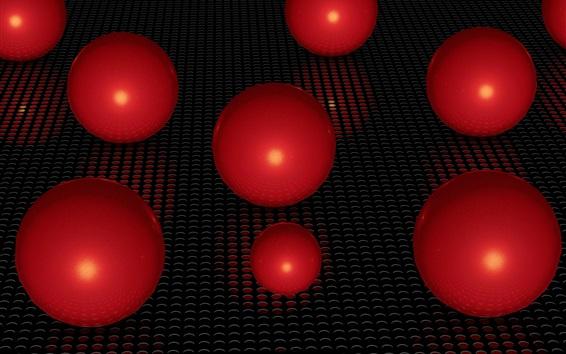 Wallpaper Red 3D balls, surface