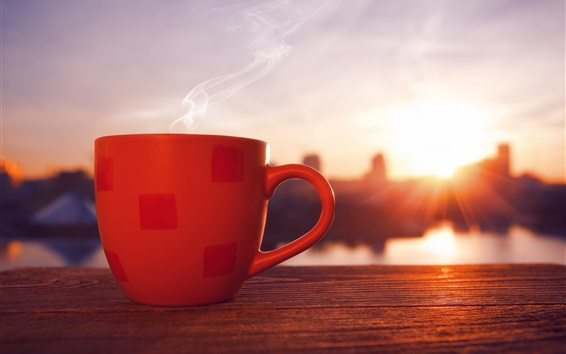 Wallpaper Red cup, drink, steam, sunset