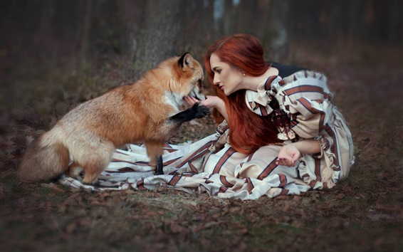 Wallpaper Red hair girl and fox sit on ground