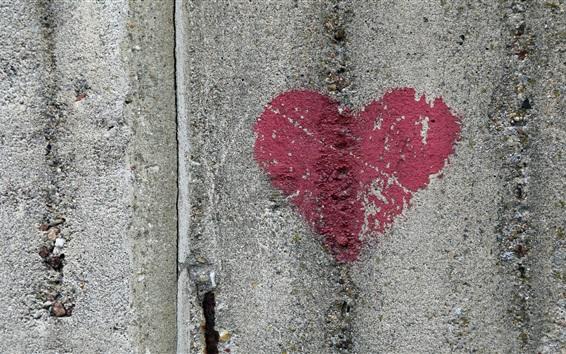 Wallpaper Red love heart, graffiti, wall