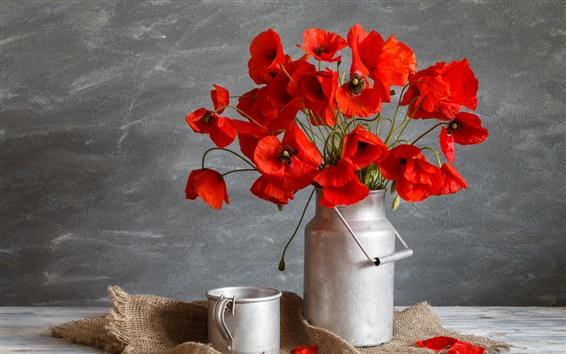 Papéis de Parede Flores vermelhas da papoila, caneca do metal