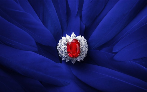 Wallpaper Red rubin, diamond, ring, blue feathers