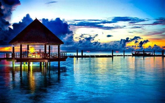 Обои Ресторан, океан, пирс, вечер