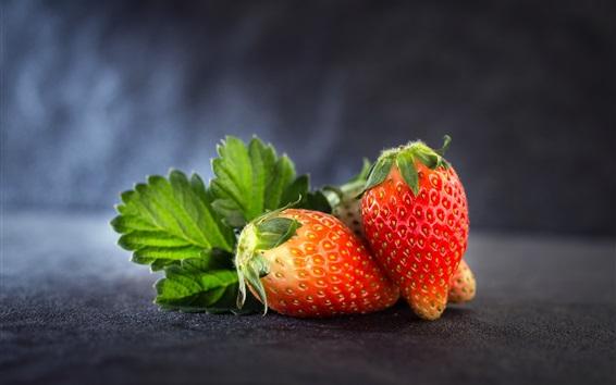 배경 화면 익은 딸기, 과일