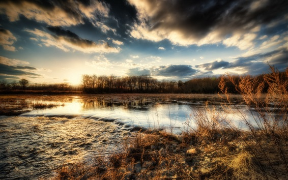 Wallpaper River, trees, grass, stones, clouds, sunset