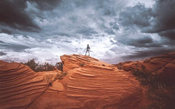 Wallpaper Rocks, hill, clouds, sky, girl