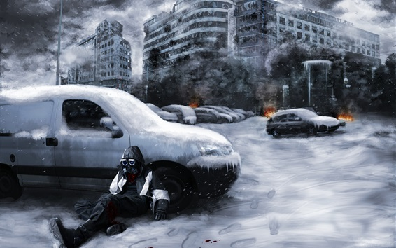 Wallpaper Romantically Apocalyptic, ruins, city, snow, gas mask, cars, smoke, fire