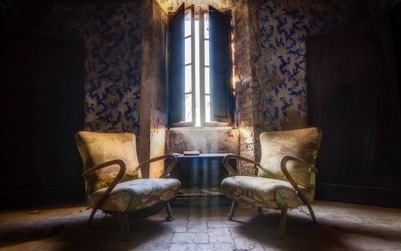 Wallpaper Room, chairs, window, dust