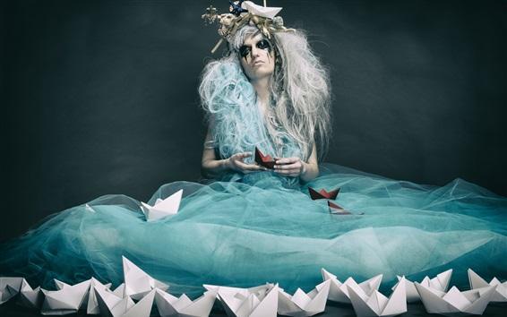 Wallpaper Sadness girl, blue skirt, paper boats