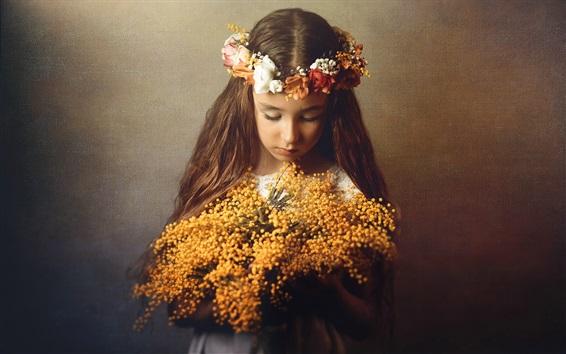 Wallpaper Sadness little girl, flowers