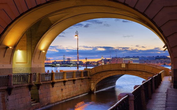 Papéis de Parede São petersburgo, hermitage, neva, rio, anoitecer, luzes