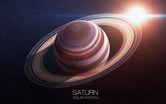Fond d'écran Saturne, anneau, planète, soleil, système solaire