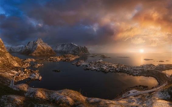 Wallpaper Scandinavia, Norwegian sea, Norway, city, clouds, island