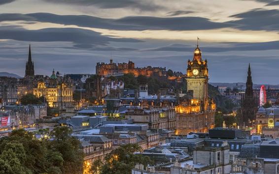 Wallpaper Scotland, Edinburgh, night, city