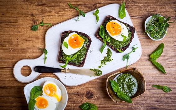 Wallpaper Scrambled eggs, breakfast, greens