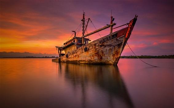 Wallpaper Sea, ship, shore, sunset
