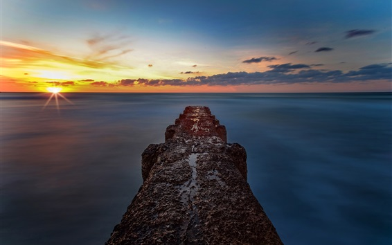 Wallpaper Sea, sunset, skyline, pier