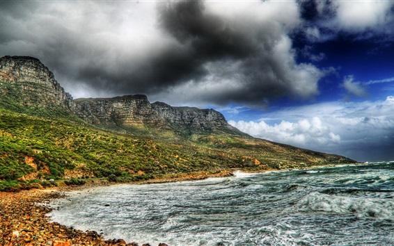 Wallpaper Sea, waves, mountains, clouds, nature landscape