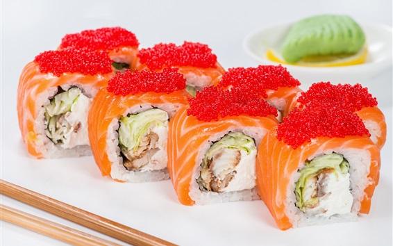 Fond d'écran Fruits de mer, petits pains, sushi, caviar, poisson