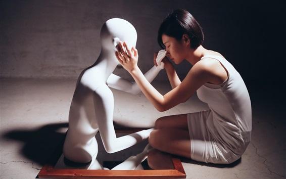 Fond d'écran Cheveux courts Asiat et mannequin, humeur