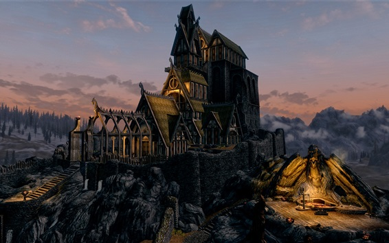 Wallpaper Skyrim, mountain, house, castle, clouds, art picture