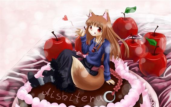 Wallpaper Smile anime girl, tail, red apples