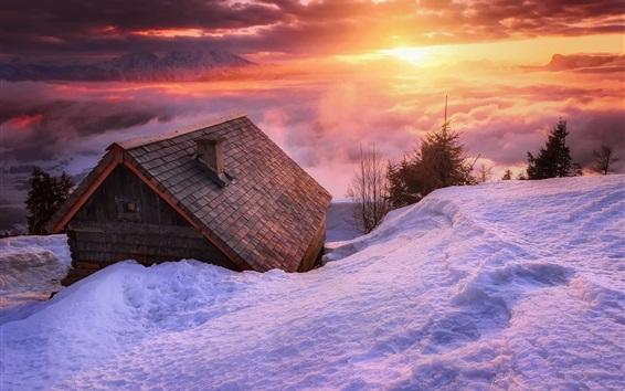壁紙 雪、家、雲、日没、冬