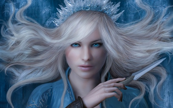 Wallpaper Snow queen, girl, blue eyes, ice knife