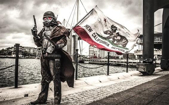 壁紙 兵士、ガスマスク、旗、都市
